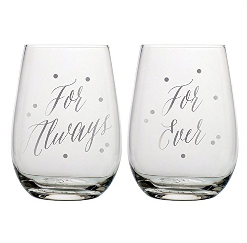 Slant Collections Set of Two 20 Fl Oz Stemless Wine Glasses - For Always For Ever