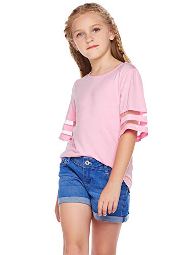 Arshiner Girls Casual Tunic Tops Shirts Kids Short Sleeve Blouse T-Shirt Size 4-13 Years 2