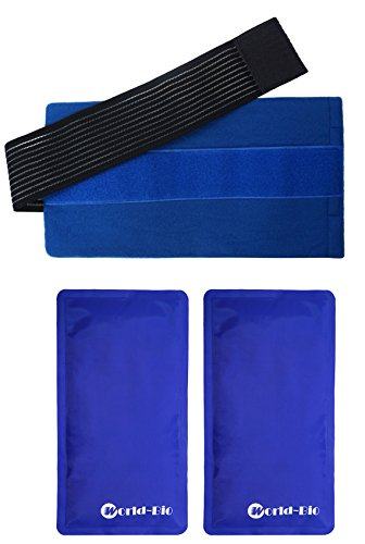 Set of 2 Flexible and Soft Gel Ice Pack and 1 Wrap with Elastic Velcro Strap Gives in Cold Hot Therapy for Pain Relief