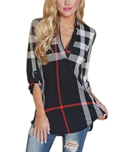 Akery Womens 3/4 Sleeve Casual Plaid Shirt Blouse Tops