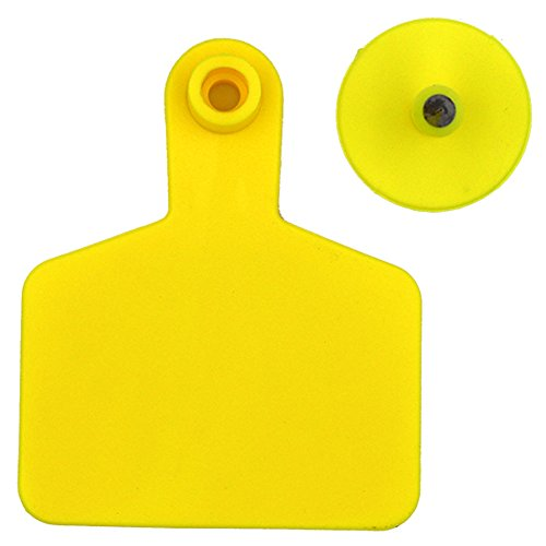 Livestock Identification Blank Ear Tags for Goats Sheep Cattle Cows Pigs 100 Packs TPU Precision Ear Tags (cattle, yellow)