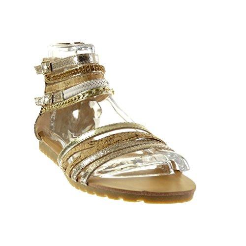 Angkorly - Zapatillas de Moda Sandalias sexy mujer multi-correa cadena brillantes Talón tacón plano 1.5 CM - Oro