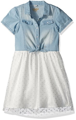 Girls Guess Denim Kids - GUESS Girls' Little' Short Sleeve Denim and Sparkle Chiffon Dress, Whipped Cream, 5