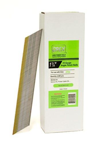 GREX GAN15-45 15 Gauge 1-3/4-Inch Length Angle Finish Nails (4,000 per box)