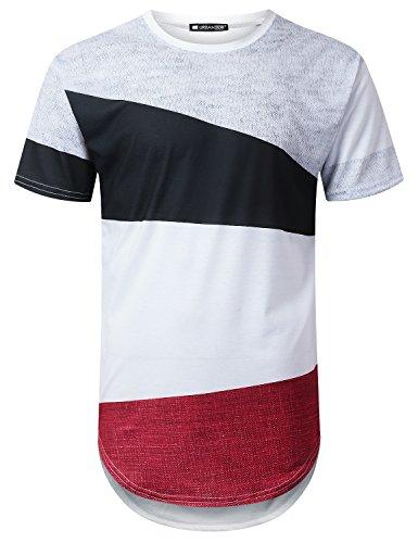 URBANTOPS Mens Hipster Hip Hop Casual Colorblock Longline T-Shirt White, XL by URBANTOPS