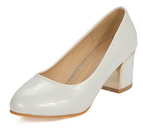 AllhqFashion Damen Niedriger Absatz Rein Ziehen auf Weiches Material Pumps Schuhe Weiß