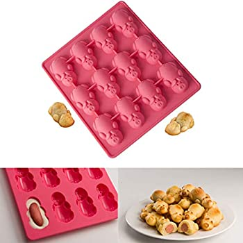 Pigs in Blankets Mold - 12 Little Pig Silicone Cake Mould - Franterd 2PC Multifunction Baking Mold for Christmas, New Year, Baby Birthday Party, ...