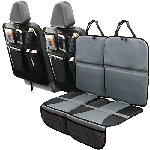 Car Seat Protector and Kick Mat Car Seat Cover (4 Pack) Thickest Padding - 2 Sets of Car Seat Protectors and Kick Mat Backseat Organizers - Covers Great for Child & Baby Carseats, Dog Mats