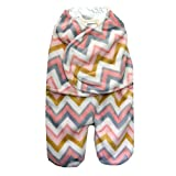 Blankets and Beyond Baby Travel Swaddle Bunting Bag - Pink/Gray Zigzag