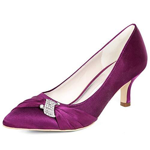 L Altos 43 Tamaño Tacones yc Para Honor Baile dama Medio Tacón Zapatos Boda Purple Mujer Marfil De Flor 35 Satén ppqrf