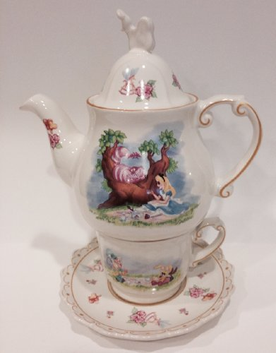 Disney Park Alice in Wonderland Tea for One Ceramic Cup Saucer Teapot Set