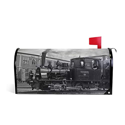 HEOEH Retro Train Locomotive Magnetic Mailbox Cover Home Garden Decorations Standard Size 20.7 x 18.0 inches