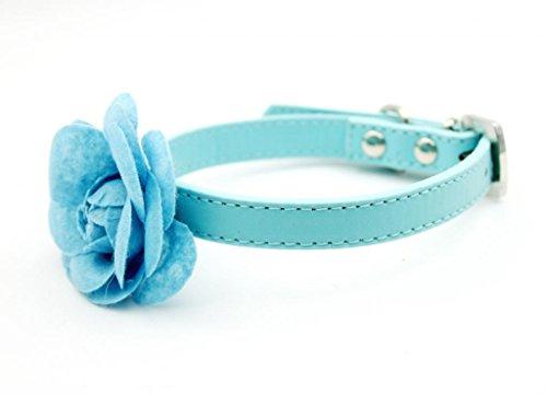 Enjoying Fancy Rose Flower Collar PU Dog Collar Blue -Medium