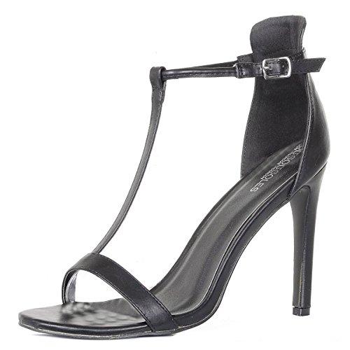 High Heel T-Bar Fashion Sandals Black mjDsXG1