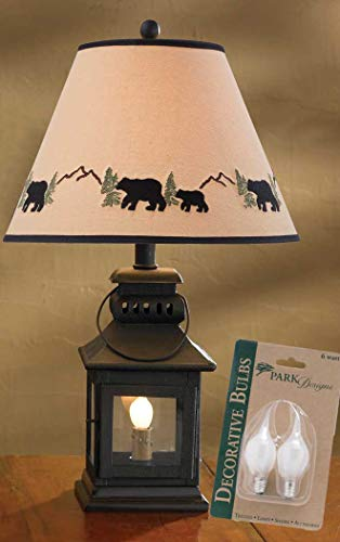 Park Designs Iron Lantern Lamp with Night Light, Black Bear 12