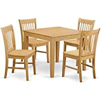 East West Furniture OXNO5-OAK-W 5-Piece Kitchen Table, Oak Finish