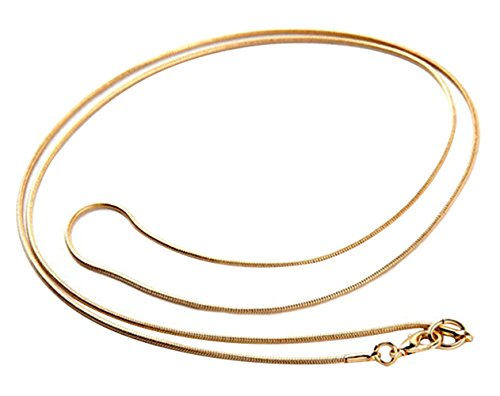 Necklace 1mm Chain Snake (Greendou Fashion 18K Gold Plated 1mm Snake Chain Necklace Jewelry (30 Inch))