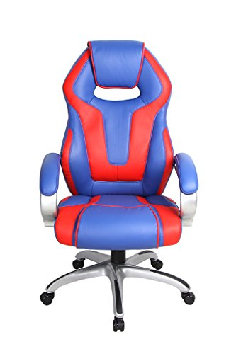 41MYG1sHe5L - VIVA-OFFICE-High-Back-Bonded-Leather-Racing-Style-Gaming-Chair-with-Padded-HeadrestRed-and-Blue