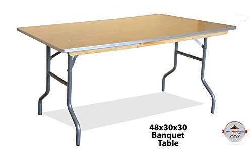 - 4-Foot (48-inch) Length Heavy Duty Rectangle Solid Birch Wood Folding Banquet Table 30-inch Height Width Aluminum Edge Weddings, Parties, Events Classrooms