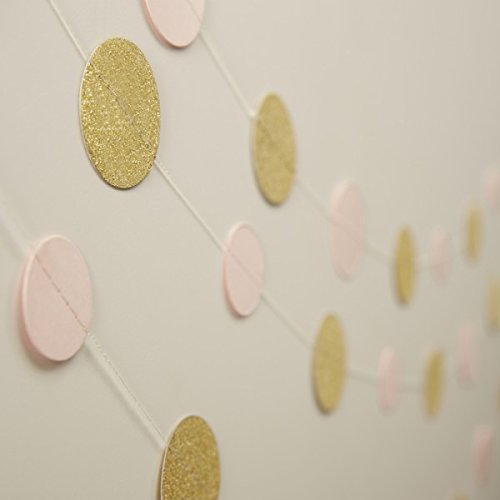 Ginger Ray Gold Sparkle and Pastel Pink Wedding/Party Circle Garland Bunting, Mixed
