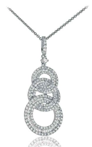 1.10CT Certified G/VS2 Pave Trilogy Circle Diamond Pendant in 18K White Gold