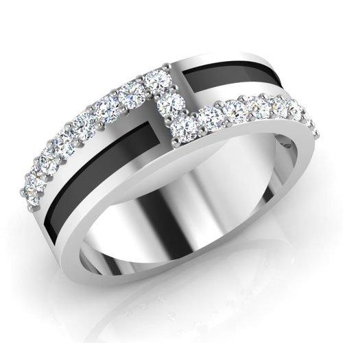0,51 Ct redondo Natural Diamond anillos de boda para hombre 14 K oro blanco