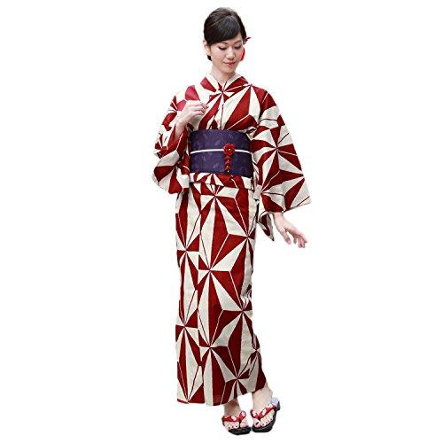 画面眠っているタイムリーな浴衣 レディース セット 生成り地に赤麻の葉 高級変わり織り浴衣3点セット クリーム 麻の葉