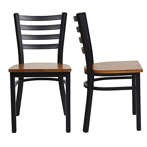 LuckyerMore Kitchen Dining Side Chairs Set of 2 with Wood Seat and Metal Frame Restaurant Chairs for Commercial and Residential Use, Ladder Back (Restaurant Chairs Classic)
