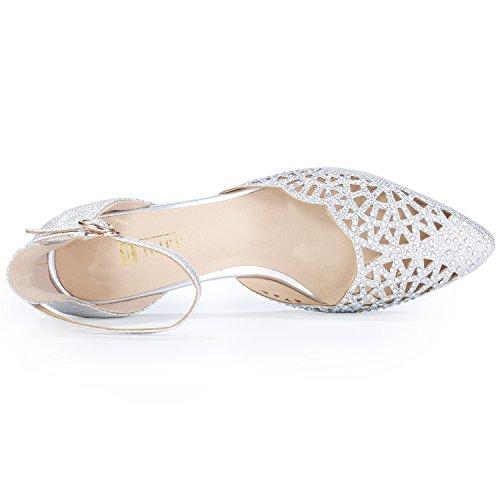 Heels Mid Pump Sequins Candice IN2 Rhinestones Silver Stiletto Wedding Women's IDIFU OCqzXwnYI