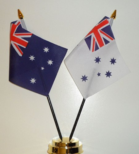 Australia and RAN Royal Australian Navy White Ensign Friendship Table Flag Display 25cm (10