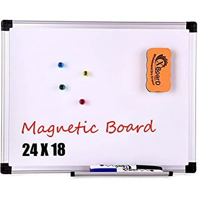 XBoard Double-Sided Magnetic 15 x 12 Inch Whiteboard Set - Dry Erase Board with 1 Magnetic Dry Eraser & 3 Dry Erase Markers & 4 Magnets