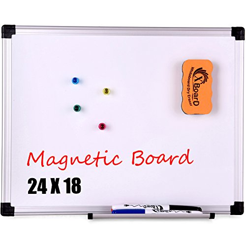 XBoard Reversible Double-Sided Magnetic Whiteboard Set - 24 x 18 Inch Dry Erase Board with 1 Magnetic Dry Eraser & 3 Dry Erase Markers & 4 Magnets