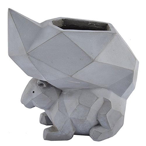 uxcell Resin Squirrel Shaped Home Garden Office Plant Flower Pot Planter Light Gray