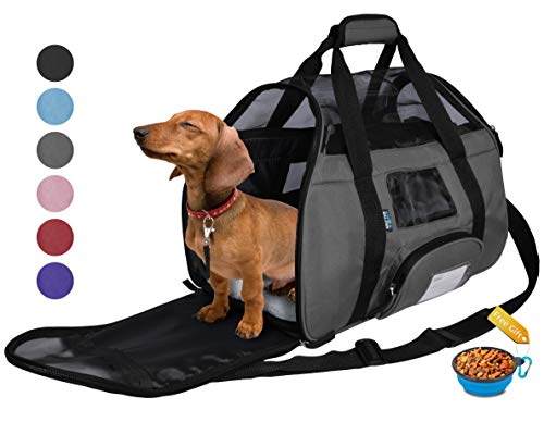 Tirrinia Soft Sided Pet Carrier Travel Bag for Small Dogs and Cats Small Animals Airline Approved with Removable Sherpa Lining Bed and Lost & Found Tag Grey