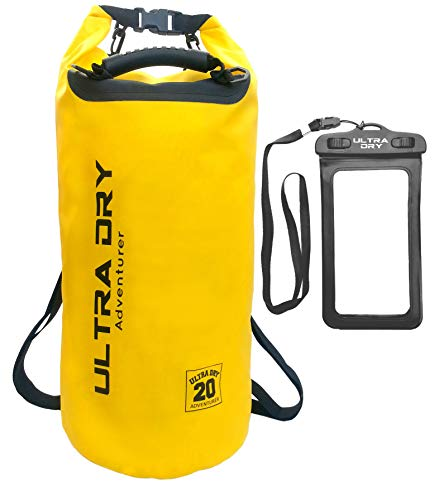 Premium 20L Waterproof Bag, Sack with Phone Dry Bag and Long Adjustable Shoulder Strap Included (Yellow, 20 L)