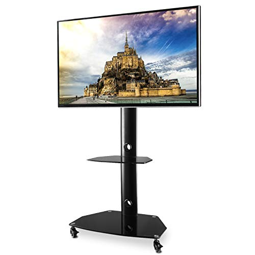 TAVR Rolling Mobile TV Cart Floor Stand with Universal Swivel Mount Wheels and Tempered Glass Shelf for 27 32 37 42 47 50 55 inch Flat Screen and Curved Televisions, Black TF9001