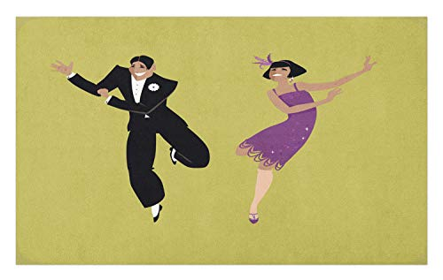 Lunarable Dance Doormat, Happy Young Couple Dressed in 1920s Fashion Dancing The Charleston, Decorative Polyester Floor Mat with Non-Skid Backing, 30 W X 18 L Inches, Pistachio Green Violet -