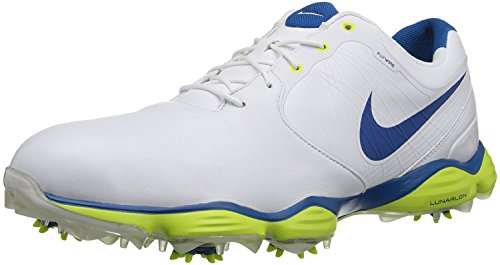 NIKE Golf Men's NIKE Lunar Control II Golf Shoe, White/Venom Green//Military Blue, 9.5 D(M) US