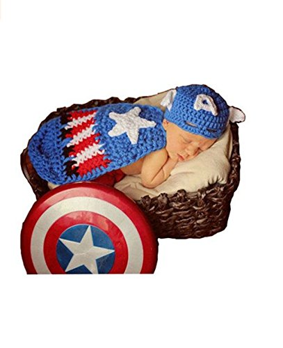 Captain America Baby Costumes (Eyourhappy Baby Photography Prop Costume Crochet Knitted Outfit Captain)