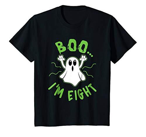 Kids Funny 'Boo I'm 8' Halloween Costume Ghost T-shirt