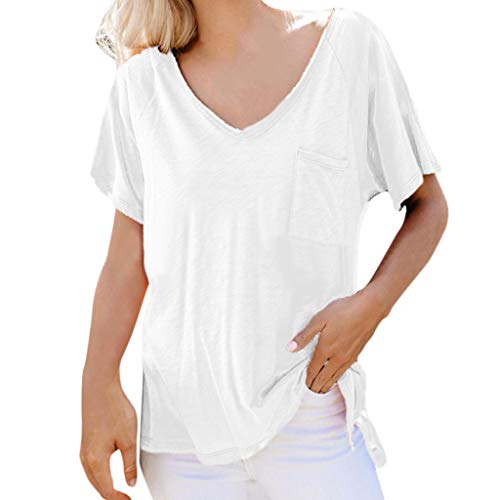 ⚡HebeTop⚡ Women's Short Sleeve Basic V-Neck Shirts Loose Plain Casual Tees Shirt with Pocket -