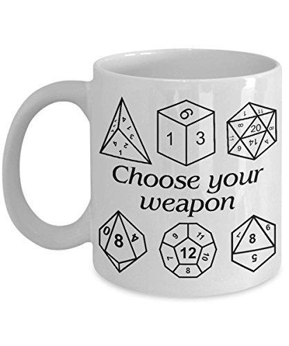 A Hobbit Coffee Mug | Choose Your Weapon D&D Dice Mug | Great Fantasy | Gift Dungeons And Dragon | Dungeon Master Gift | Dungeon And Dragon (Worlds Best Dungeon Master Mug)