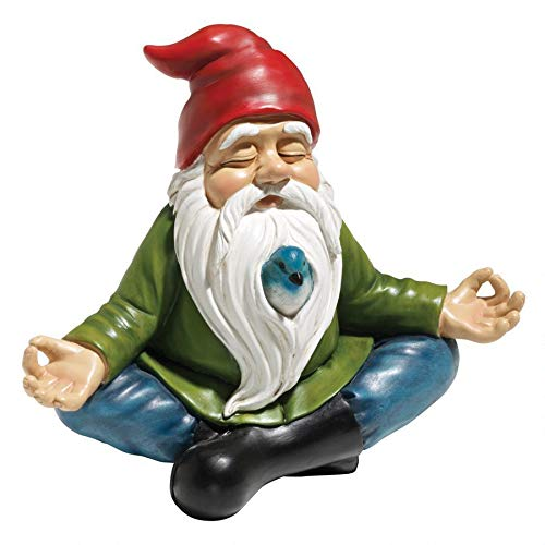 Design Toscano Zen Garden Gnome Statue, 8 Inch, Polyresin, Full Color (Ice Christmas Decorations Sculpture)