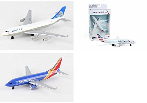 Daron United, American, Southwest Airlines Diecast Airplane Package - Three 5.5