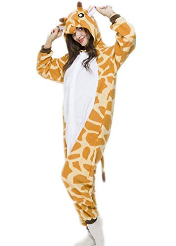 Unisex Adult Giraffe Pyjamas Halloween Costume One Piece Animal Cosplay Onesie ()