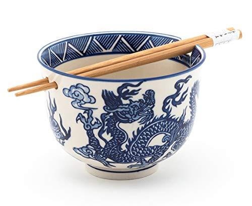 Happy Sales HSRB-DRGBLU, Ramen Udon Noodle Soup Cereal Bowl w/Chopsticks, Royal Blue Dragon - Blue Bowl Cereal Royal