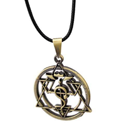 Anime Metal Necklace - Touirch Anime Fullmetal Alchemist Cross Pendant Necklace Elric Cosplay (A)