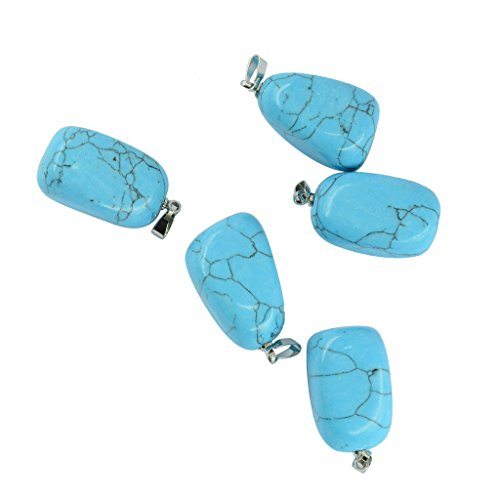 Natural Green Nugget Turquoise Stones - Baosity 5pcs Natural Crystal Gemstone Pendants Charms Stone Beads With Silver Bail - Turquoise
