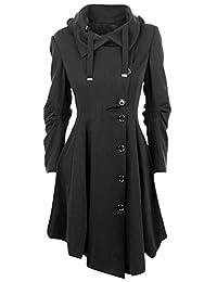 Roundshop Women's Elegant Trench Coat Vintage Single Breasted Jacket
