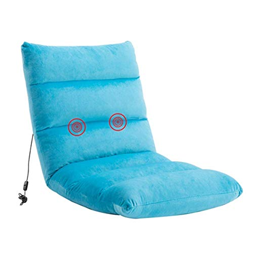 SUXIU Lazy Sofa Floor Folding Chair with Adjustable Headrest and Legrest Padded Gaming Sofa Chair Lazy Recliner Legless Chair (Color : Blue) ()